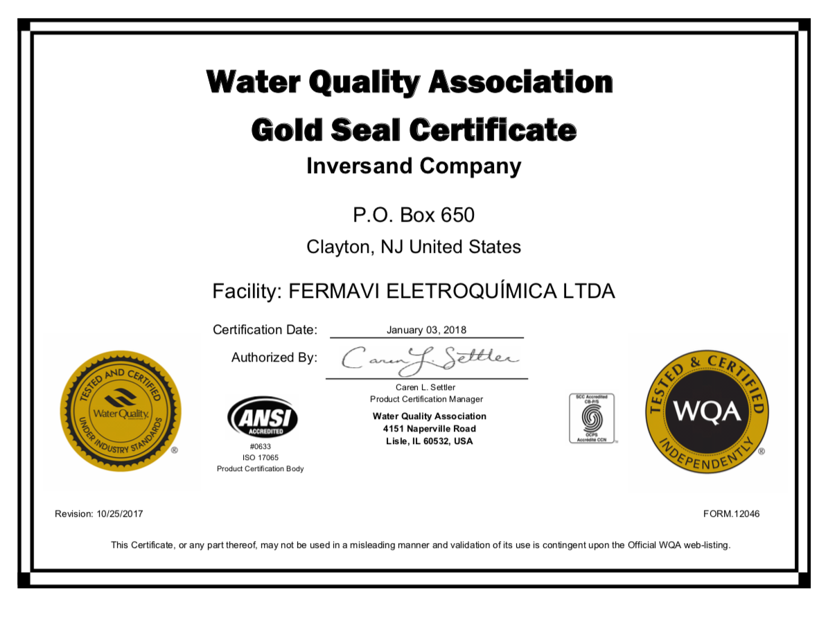 gold seal wqa certificate company